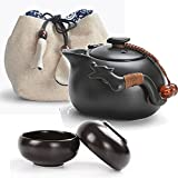 TAMUME Set da tè in Porcellana per Uso Adulto, 1 Teiera e 2 Tazze da tè, tè in Porcellana Smaltata per Un Set, Ideale per 1 Persona Servizio da tè Porcellana (Black)