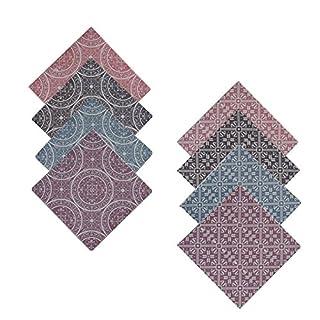 Annastore 8 x Untersetzer mit Ornament-Design aus Porzellan 7,5 x 7,5 cm - Glasuntersetzer - Unterseite Kork