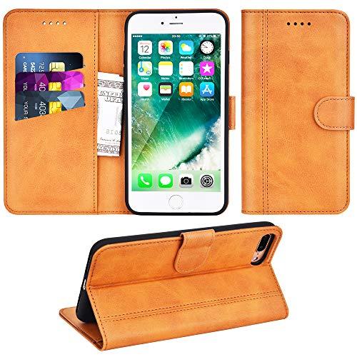 Adicase iPhone 7 Plus Hülle Leder Wallet Tasche Flip Case Handyhülle Schutzhülle für Apple iPhone 7 Plus / 8 Plus 5,5 Zoll (Braun) Schutzhülle Flip Case