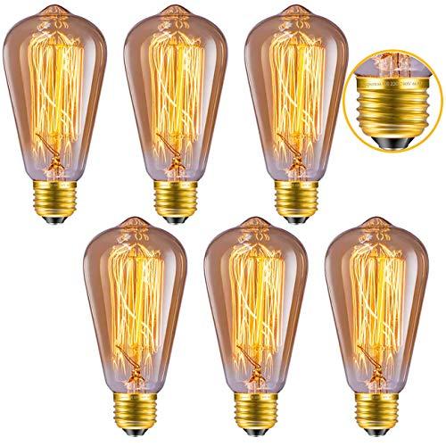 Edison Glühbirne, Licperron Vintage Lampe E27 60 W 220 V Eichhörnchen Käfig Tungsten Filament Glas Edison Lampe Dimmbar, 6 Stück - Kronleuchter 60w Art