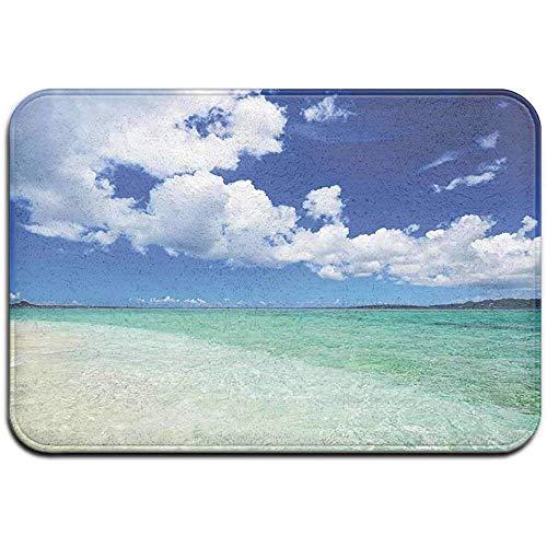 Teppich Badematte rutschfeste saugfähige super gemütliche Plüsch Bad Teppich Teppich, Insel Sea Life wellig lebendige offene sonnige Küste Sandstrand Thema Kunstdruck Bild, Dekor Fußmatte 40X60cm