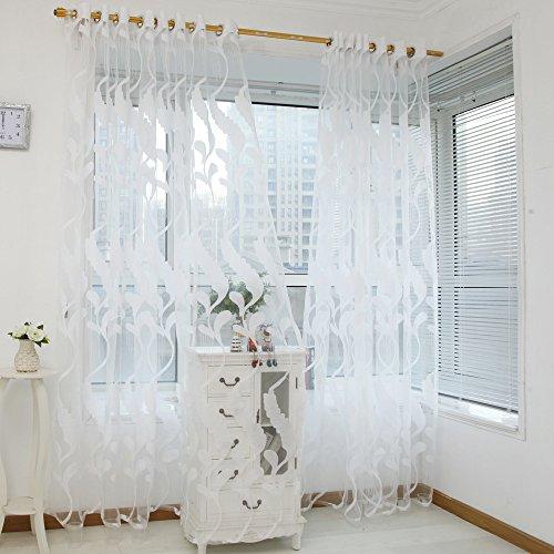 Cooliy_casa mantovana tenda finestra pura tulle ricamo di grano trasparente finestra voile drape valance tessuto camera da letto moderna salotto cameretta bambini doccia bianca 1 pannello (bianco)
