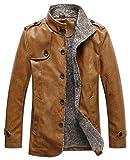 YYZYY Herren Retro Klassische Herbst Winter Warm Kunstleder Mäntel Jacken Lederjacke Mens Coat Jacket Parka EU Size XXS-5XL (EU/DE Large, Khaki)