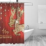 XiangHeFu Duschvorhang mit Haken 152,4x 182,9cm Gold Deers und Weihnachtsschmuck für Mann Frau (Wasserdicht und Schimmelresistent 100%) Badezimmer Home Decor