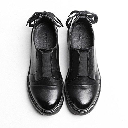 Mocassins Ville a Chaussures Enfiler Marcher Plateforme Mode Casual 39 Noir de Confortable Derbies 35 Sneakers Cuir JRenok Femme XYBwnwx