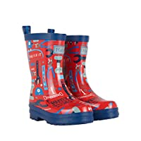 Hatley Boys Printed Wellington Rain Boots, Red (Mr. Fix IT), 7 Child UK (23 EU)