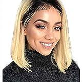 Perruque Bob Wig Lace Wig Blonde 613 Cheveux Humain Vierge Courte Perruque Bresilienne Lace Wig Naturelle Bleach Blonde avec Naturel Hairline Délié Naturel 12 pouce