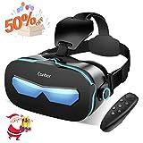 VR Brille, Canbor 3D VR Virtual Reality Headset, FOV 120° mit Fernbedienung für 3D Filme und Spiele, Kompatibel mit iPhone, Samsung Sony und Android Handy mit 4.0-6.3 Zoll …