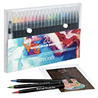 Watercolour real brush pens set- 20 Vibrant Colours for watercolour painting, Calligraphy with Flexible nylon tip, +1 water Brush watercolour pens, Brush pen for colouring, painting and Lettering