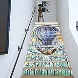 RLF LF Autocollants D'escalier Autocollants Créatif Montgolfière Aquarelle Accueil Mural Art Amovible Et Imperméable Rénover Le Fond D'écran (13 Pcs) Par RLF.LF,Beige,100Cm*18Cm...
