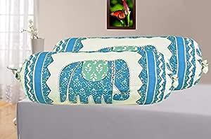 SkyKross Cotton veda Cream hathi Print Blue 2 Bolster Cover