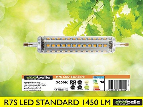 ECOBELLE® 1 x 12W R7s LED Leuchtmittel Lampe, 1450 Lumen (Hohe Lumen Lampe!!!), warm-weiß 3000K, 118 mm x 25 mm, 360°