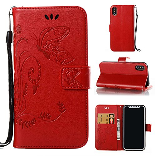 iPhone X Ledertasche,iPhone X Hülle,TOYYM Retro Schmetterling Muster Ultra Dünn PU Leder Magnet Flip Cover Stand Klapphülle Wallet mit Kartensteckplätzen,Folio Full Body Protection Brieftasche Innere  Rot