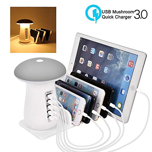 Usb Desktop Dock (Tempo USB Charging Station, 5-Port USB Multi Device Charging Dock Desktop Charging Stand with Mushroom LED Night Light for Kindle iPhone Apple Cell Phone and Android Devices-Warm White)