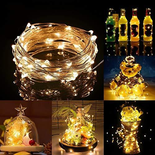 Malayas LED Lichterkette Outdoor Batteriebetrieben 5M 50 LED Kupferdraht Lichterkette Wasserdicht für Party, Garten, Weihnachten, Halloween, Hochzeit, Beleuchtung Deko(Warmweiß)