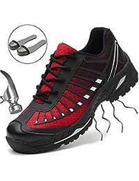 SUADEEX Mujer Hombre Zapatillas de Seguridad Deportivos con Puntera de Acero S3 Zapatos de Trabajo Entrenador