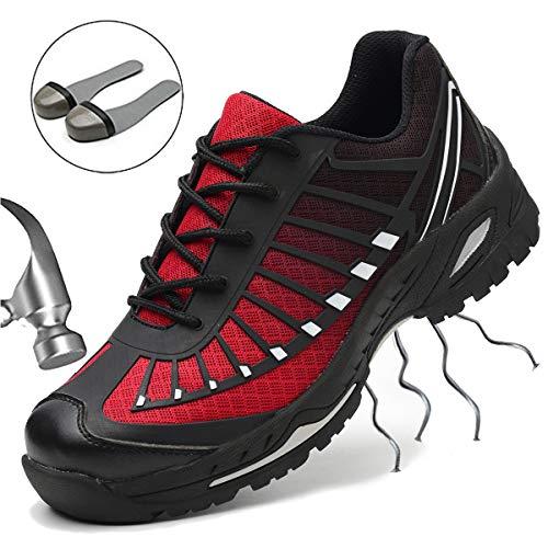 SUADEEX Damen Herren Sicherheitsschuhe Arbeitsschuhe Sportlich Trekking Wanderhalbschuhe Stahlkappe Schutzschuhe Hiking Schuhe Traillaufschuhe Gr.35-46
