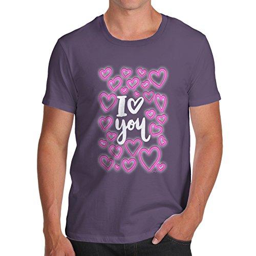 TWISTED ENVY Herren T-Shirt I Love You Neon Hearts Print Pflaume