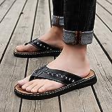 Leder Flip-Flop Outdoor Slipper Mann Sandale Strand Schuhe weiche komfortable Freizeit kreative (39-49 Größe) (Farbe : Schwarz, größe : 45)