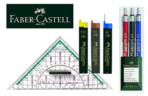 Preisvergleich Produktbild Faber-Castell Clever Geo Set 130622 Druckbleistift TK-FINE 3er Etui je ein Stift 0,35 mm, 0,5 mm und 0,7 mm + 3 Dosen Ersatzminen + 177090 - Zeichendreieck groß, mit Griff (1, Geo Clever Set)