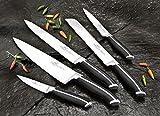 Sabatier Professionnel Bloc Couteau incliné INOX brossé + 5 Couteaux Jupiter