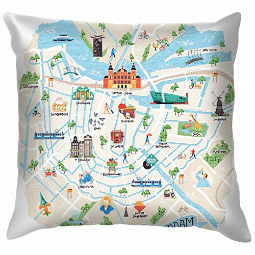 beautiful& Illustrated Map Amsterdam Netherlands Doodle Buildings Landmarks Museum Soft Cotton Linen Cushion Cover Pillowcases Throw Pillow Decor Pillow Case Home Decor 18X18 Inch