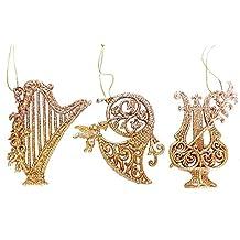 Gisela Graham - Musical Instrument Harp Horn and Lyre Glitter Gold Tree Decorations Set of 3