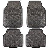 EUGAD Universal Auto Fußmatten Matten 4-Teilig ALU Look Chorm Optik Riffelblech Grau Matt AM7170gr