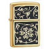 Oro floral Flush emblema cepillado latón Encendedor Zippo–* libre grabado en la parte posterior