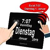 iGuerburn Digitale Sprechende Uhr Touchscreen Tageskalender Wecker für Senioren Ältere Demenz Alzheimer Gedächtnisverlust Sehbehinderte Blindheit (Schwarz, 20cm) MEHRWEG