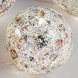Mosaikkugel mit Licht, 15 cm, Glas, silber-bunt
