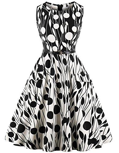 FAIRY COUPLE 50s Retro Blumen Cocktail Schwingen Party Kleid mit Bogen DRT073(L,073 Schwarz und weiß)