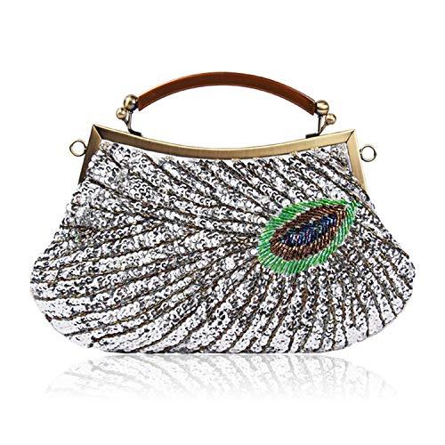 LUI SUI Womens Vintage Pfau Clutch Bag Antik Perlen Pailletten Abend Handtasche Türkis Eye Catching Geldbörse für Damen Hochzeit Braut Prom Party -
