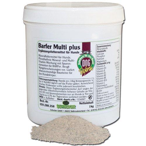 Schecker Barfer Multi plus, 1 kg Phosphatfreie Mineral und Multivitamin Mischung beugt Mangelerscheinungen beim Barf für Hunde Nahrungsergänzung