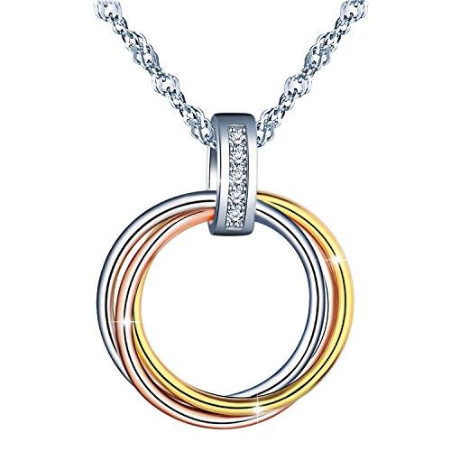 MicLee 925 Sterling Silber Zirkonia Ineinander Verschlungen Ringe Halskette Anhänger Nie getrennt Kette, Geschenk für Frauen Mädchen Freundin Mutter Tochter