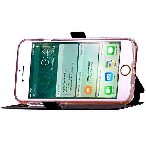 """Trumpshop Smartphone Case Coque Housse Etui de Protection pour Apple iPhone 7 Plus 5.5"""" + Bleu + Voir fenêtre PU Cuir Portefeuille Les Fentes de Carte de Crédit Fonction Support Anti-Choc Noir"""