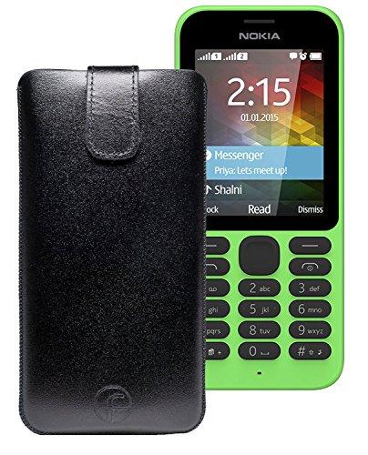 Original Favory Etui Tasche für / Nokia 215 Dual SIM / Leder Etui Handytasche Ledertasche Schutzhülle Case Hülle Lasche mit Rückzugfunktion* in Schwarz