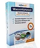 aquaself Wasserhärte Teststreifen – 7 Stück – Deutscher Härtebereich °dH – Wasserhärte testen in weich, mittel und hart - inkl. gratis E-Book