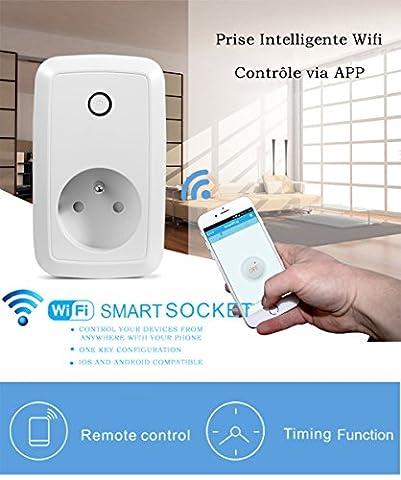 Switch Interrupteur Prise Domotique WiFi avec Contrôle Electrique Compatible Tablette Tactile,Smartphone IOS et Android Prise de Courant Connectée Avec Fonction Timing/Prise de Courant Intelligente Avec Mise en Veille Programmable 2.4GHz