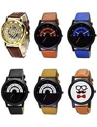 NEUTRON New 3D Design Open Beard Style Black Blue And Brown Color 6 Watch Combo (B45-B46-B47-B48-B49-B53) For...