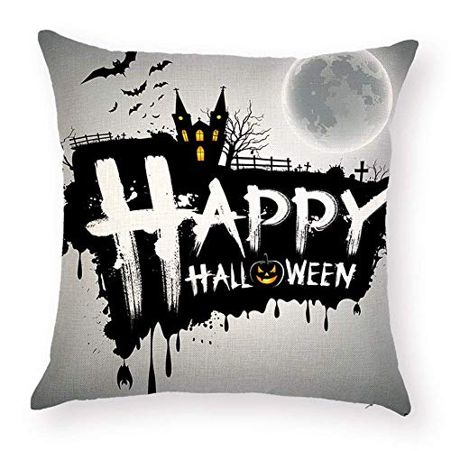 Lmunxuy Pillow Covers Cotton Linen Square Happy Halloween Decorative Throw Pillow Case for Chair Cushion Party Decor Pillowcase 18