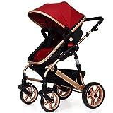 baby stroller der Kinderwagen Kann Sitzen und Falten Zwei-Wege-Vierrad-Dreifach-Dämpfer Kinderwagen Kinderwagen,Burgundy