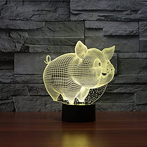 3D ILLUSION Lampe jawell Pig Dekoratives Licht 7 Farben Switch by Smart Touch Button Creative Geschenk Home Office Dekorationen
