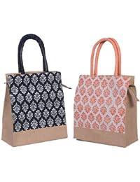 ABV Lunch Bag , Jute Bag, Hand Bag Shopping Bag, Tote Bag -Black And Peach Printed Bag With Zip-Pack Of 2