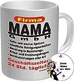 2518 Familien-Set Tasse+Button: Geburtstag Muttertag Tasse: FIRMA MAMA GmbH, Geburtstagsgeschenk Premium Geschenk Tasse Keramik Original RAHMENLOS® in Geschenkbox + Button Beste Mama