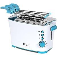 Cecotec Tostadora Toast&Taste 2S. Con capacidad para dos tostadas. Incluye pinzas para las tostadas. 850 W de potencia y 7 posiciones de tostado, función descongelar y función recalentar