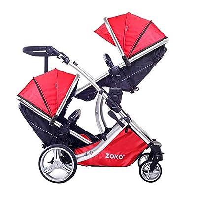 Marco Doble Del Cochecito De Bebé Plegable De Aluminio Con Asiento Cinturón Y Toldos Para Los Niños De 0 A 36 Meses