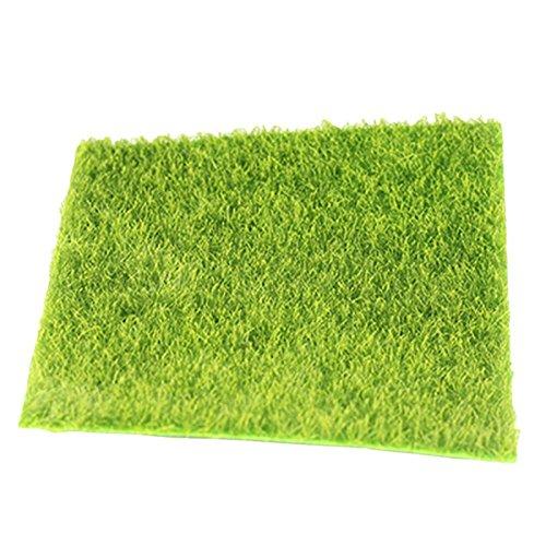 Wuudi Kunstrasen-Matte Kunststoff Rasen Gras Grün Kunstrasen Miniatur Garden Gras Ornament für Miniatur Puppenhaus Zubehör, Grün, 30*30cm
