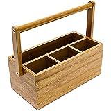 Relaxdays Schreibtischorganizer aus Bambus H x B x T: ca. 20 x 25 x 11,5 cm Stiftehalter mit 4 Fächern und Henkel zum Tragen als Aufbewahrungsbox und Schreibtischbutler Stiftebox aus Holz, natur
