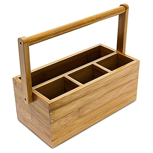 Relaxdays 10018880 Organizador de Escritorio de bambú Soporte 4 Compartimentos con asa